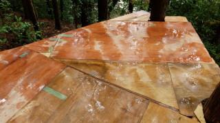 ツリーハウス床板の防水処理