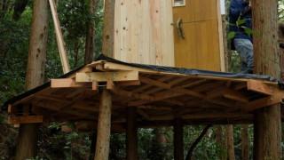 ツリーハウスの屋根の取り付け